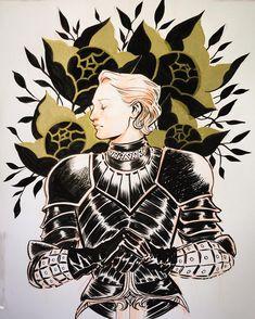 Brienne of Tarth #inktober #inktober2017 #brienne #GoT #ink #sketchbook #sketch #brush #gold