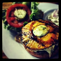 Burger of the Day at Poe's Tavern on Sullivan's Island! Teriyaki Grilled Pineapple with Jalapeno Jack Cheese. Check our website for the burger of the day and market fish special of the day!