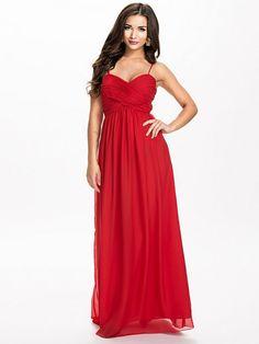 Wrap Bust Long Dress - Nly Eve - Czerwony - Sukienki Wieczorowe - Odzież - Kobieta - Nelly.com
