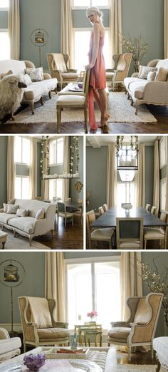 Erin Fetherston Home, I'm going to have to steal the living room color palette for my next office space