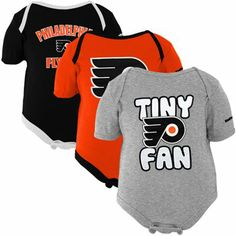 Reebok Philadelphia Flyers Newborn 3-Pack Tiny Fan Creepers - Orange/Black/Ash
