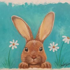Spring Bunny Acrylic Painting Tutorial on YouTube by Angela Anderson #rabbit #spring #angelafineart #bunny #acryliconcanvas