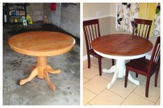 Dining table DIY. Spray paint and stain. Kitchen table refinish.