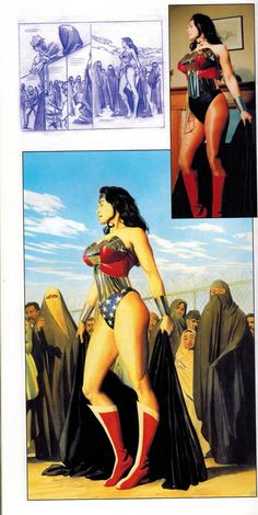 Alex Ross' Wonder Woman w/ sketch and model photo