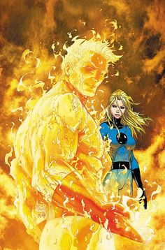 Human Torch & Invisible Woman (Fantastic Four By Michael Turner & Peter Steigerwald Comic Book Artists, Comic Book Characters, Comic Book Heroes, Comic Artist, Marvel Characters, Comic Books Art, Ms Marvel, Marvel Comics Art, Marvel Heroes