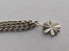 Lucky Clover Charm Bracelet. Curb Link Sterling Silver Chain Bracelet, Discount when bought with Extra Vintage Charms! by LittleVintageCharmCo on Etsy