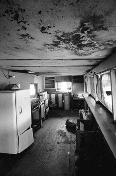 Interior view of the kitchen at the Spahn Movie Ranch, where Charles Manson and his followers lived from mid 1968 until their arrest in October 1969.