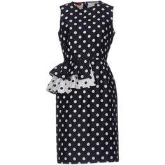 Carolina Herrera Knee-length Dress (8.145 BRL) ❤ liked on Polyvore featuring dresses, dark blue, no sleeve dress, sleeveless cotton dress, dark blue dress, zip dress and cotton dresses
