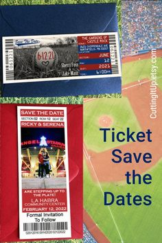 All of my Save the Date designs are available as printed tickets, printed magnets or a digital Printable Template. #baseball #baseballwedding #savethedate #ticket #diywedding #diytemplate #savethedatemagnet #savethedateticket Softball Wedding, Sports Wedding, Diy Wedding, Save The Date Postcards, Save The Date Magnets, Ticket Invitation, Invitations, Personalized Sticky Notes, Printed Magnets