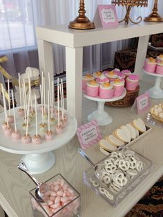 Blush gold and white -️sweet bar -bridal shower - Elegant Bridal Shower, Sweet Bar, Blush And Gold, Candy Buffet, Chocolate, Cake, Desserts, Tailgate Desserts, Deserts