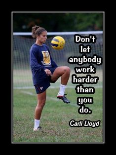 Girls Soccer Motivation Poster, Hard Work Quote, Coaching Wall Decor, Daughter Inspiration Wall Art featuring Carli Lloyd and a compelling message. Its a lasting gift with a lasting message. It will certainly please and motivate any. Soccer Pro, Soccer Memes, Soccer Girls, Soccer Stuff, Soccer Cleats, Nike Soccer, Volleyball, Soccer Socks, Morgan Soccer