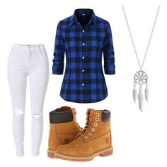 """Untitled #82"" by destinyaldridge on Polyvore featuring Timberland and Lucky Brand"