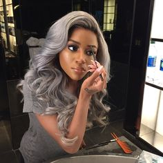 gray hair, silver hair, black girl with colorful hair, soft curls, wavy hair, black womens inspiration