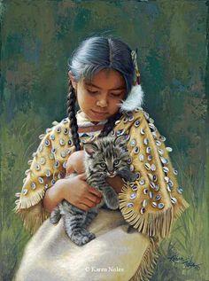 """""""Gentle Presence"""" 12"""" x 9"""" -Native American Paintings by Karen Noles"""