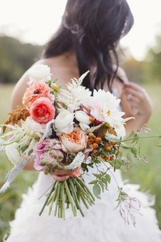 Loving the natural look of this #wedding bouquet! From http://stylemepretty.com/texas-weddings/2012/11/27/dallas-bridal-portraits-from-heather-hawkins-photography/  Photo Credit: http://heatherhawkinsphoto.com/  Florals by http://heatherhawkinsphoto.com/