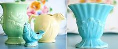 It is spring all the time with a McCoy collection! I have the little bird in yellow and the aqua vase on the left. Such treasures!