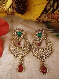 Beautiful Polki hoop style earrings