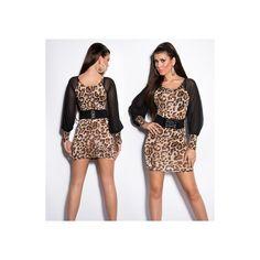 Vestido diseño leopardo de cuello redondo, manga larga de gasa negra con transparencias y cinturon adjunto.. Composicion: 95 % Polyester / 5 % Cotton