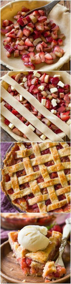 """Learn how to make strawberry rhubarb pie that holds its shape! Along with the flakiest, most buttery perfect homemade pie crust recipe! <a href=""""http://sallysbakingaddiction.com"""" rel=""""nofollow"""" target=""""_blank"""">sallysbakingaddic...</a>"""