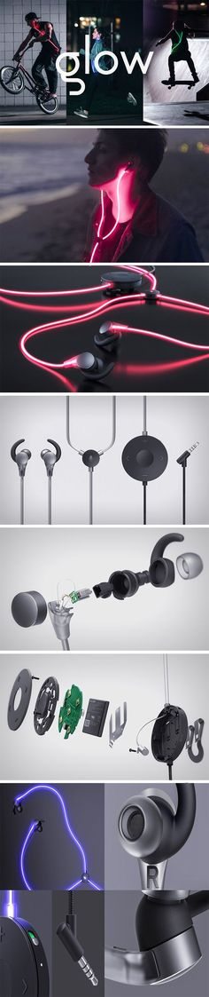 """The Glow headphones bring the sensory element of sight to the music listening experience. Much like the way an equalizer helps people """"see"""" music, the Glow earphones contain special cables that light up and pulsate with your audio."""
