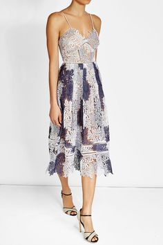 Self-portrait Camellias Sleeveless Guipure Lace Midi Dress, Lavender Multicolor In Lilac/white White Leaf, Blue And White, Best Wedding Guest Dresses, Lace Midi Dress, Style Icons, Gowns, Portrait, Model, How To Wear