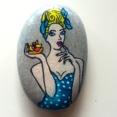 Pop Art Blonde Woman Stone Painting