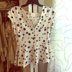 Anthropologie Deletta peplum top Only wore once. Excellent condition! Anthropologie Tops Tees - Short Sleeve