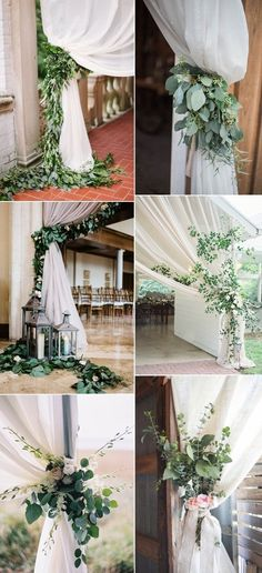 pretty greenery wedding curtain ties ideas!  These would be PERFECT for our flag swags in the Chapel at Glenmoor Country Club!