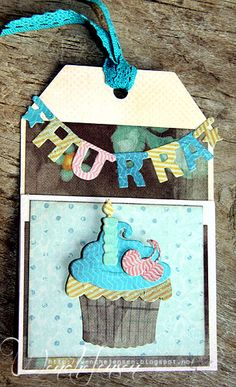 Tag by DT member Wenche with Creatables Alphabet Garland (LR0340) and Cupcake (LR0160) by Marianne Design