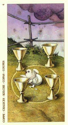 Four of Cups - Albrecht Dürer Tarot (2002) by Giacinto Gaudenzi