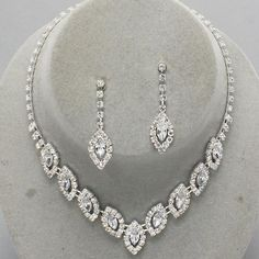 Wedding Prom Bridal Evening Clear Crystal Fashion Costume Jewelry Necklace Set