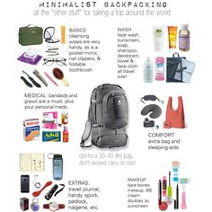 "minimalist backpacking, all the ""other stuff"" for taking a trip around the world.   packing, toiletries, tips, list, check list, everything  you need."