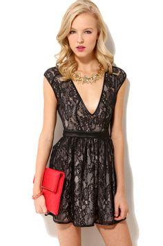 Love this too! Deep V Lace Dress in Black | Women's Mini Dresses | ShopAKIRA.com