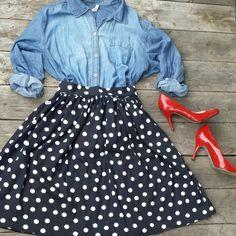 Handmade Black and White Polka Dot Skirt with Back Zipper- Retro Style Rockabilly Midi Skirt -Size Small