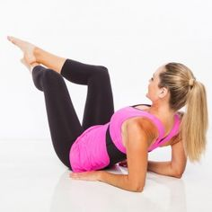 Lie faceup propping upper body on elbows and forearms. Rest palms facing down by hips. Draw abs in tight. With toes pointed, cross right ankle over left and bend knees and hips about 90 degrees, opening knees out to sides.