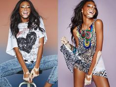 Canadian model Winnie Harlow is wearing the Desigual NADINE T-shirt (left) from Spring-Summer 2015 collection, now at angelvancouver.com
