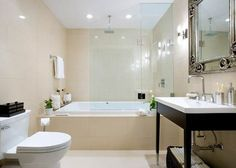 43 amazing beige bathroom design ideas 43 amazing beige bathroom design ideas with beige bathtub and glass shower and white vanity and water closet design