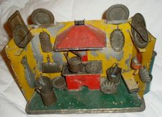 Antique Vintage Tin Toy Kitchen with 20 Tin Accessories