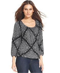 MICHAEL Michael Kors Top, Three-Quarter Sleeve Printed - Womens Tops - Macy's