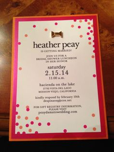 Delightful Bridal Shower Invitation//Kate Spade Inspired//Polka Dots//Hot Pink