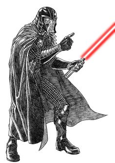 theswedishbed.com collected the work of 40 great illustrators who thought it might be cool to redesign Darth Vader using only the passage that first describes him in the script.