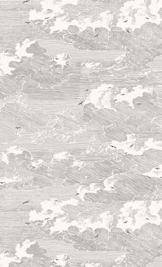 Graphic black and white wall covering by EIJFFINGER inspired by nature, sky, clouds and birds. Possibility to order in various pastel colors. Cloud Wallpaper, Pastel Wallpaper, Textured Wallpaper, Textured Background, Wallpaper Backgrounds, Graphic Wallpaper, Diy Wallpaper, Modern Wallpaper, Geometric Wallpaper