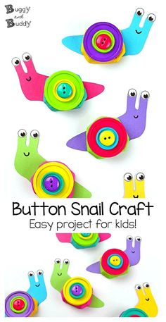 Snail Craft for Kids: Use an empty drink carrier or cardboard egg carton and some buttons to make this easy snail art project for children. Post also includes a free snail template. Perfect for spring or summer! ~ BuggyandBuddy.com #snail #snails #snailcraft #craftforkids #eggcartoncraft #buttoncraft #springcraftforkids #springcraft #summercraft #summercraftforkids