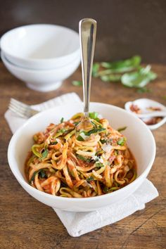 """Zucchini """"Pasta"""" with Tomato Sauce. A healthy alternative to regular pasta. Gluten free and vegetarian! Quick and easy weeknight meal from chefsavvy.com"""