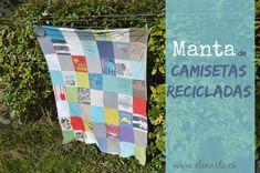 Manta/colcha de camisetas recicladas. Recycled shirts blanket/quilt.