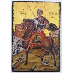 Saint Menas the Martyr Handmade Wooden Byzantine Orthodox Christian Icon