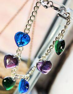 Coloured heart bracelet Love Bracelet Silver by TwyningsDesigns