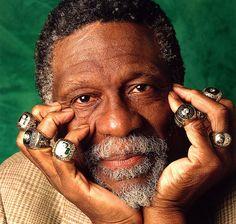Bill Russell and his 11 NBA championship rings - Boston Celtics