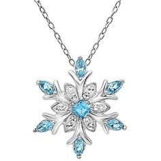 Amanda Rose Collection Sterling Silver Blue and White Crystal Snowflake Pendant-Necklace with Swarovski Elements