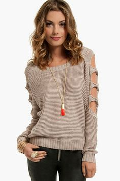 *Shoots and Ladder Sleeve Sweater $58   http://www.tobi.com/product/47316-tobi-shoots-and-ladder-sleeve-sweater?color_id=61961